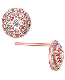 Diamond Pavé Halo Stud Earrings (3/8 ct. t.w.) in 14k White or Rose Gold