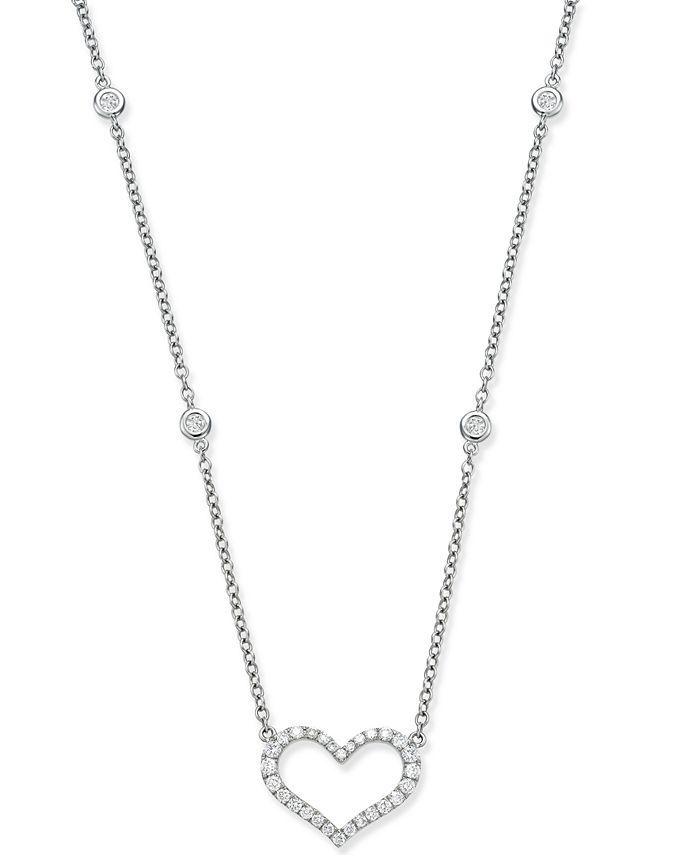 Macy's - Diamond Heart Pendant Necklace (1/2 ct. t.w.) in 14k White Gold