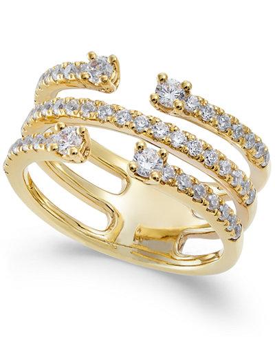 Diamond Cuff-Style Statement Ring (3/4 ct. t.w.) in 14k Gold