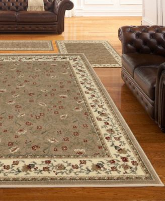 KM Home Roma Floral 3 Pc Area Rug Set