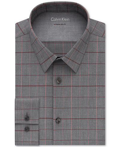 Calvin Klein X Men's Extra-Slim Fit Thermal Stretch Performance Gray/Red Check Dress Shirt