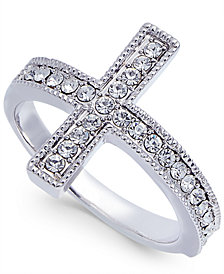 Joan Boyce Silver-Tone Crystal East-West Cross Ring