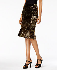 Thalia Sodi Sequined Flare-Hem Skirt, Created for Macy's