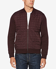 Perry Ellis Men's Quilted Ponté-Knit Full-Zip Sweater