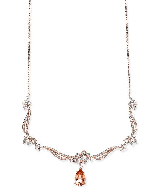 Danori Rose Gold-Tone Teardrop Stone & Cluster Statement Necklace, Created for Macy's