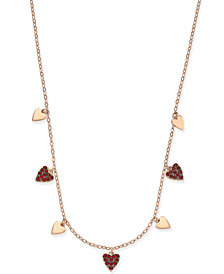 Danori Rose Gold-Tone Pavé Heart Collar Necklace, Created for Macy's