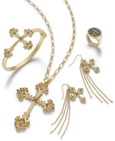 Thalia Sodi Gold-Tone Crystal Cross Jewelry Separates, Created for Macy's