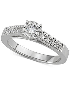 Diamond Halo Engagement Ring (3/8 ct. t.w.) in 14k White Gold