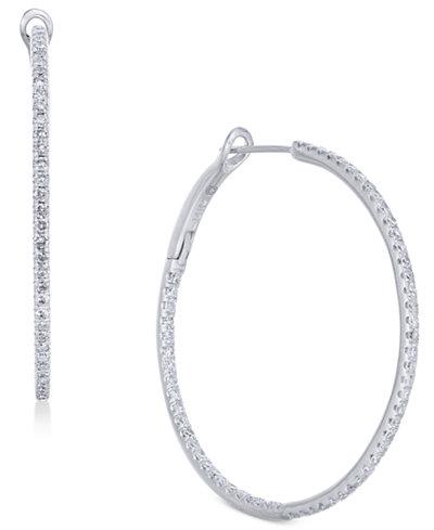 Diamond In & Out Hoop Earrings (1 ct. t.w.) in 14k White Gold