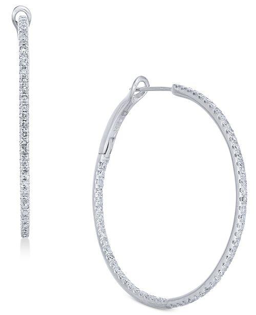 Macy's Diamond In & Out Hoop Earrings (1 ct. t.w.) in 14k White Gold