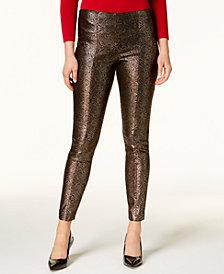 Alfani Petite Metallic Skinny Pants, Created for Macy's
