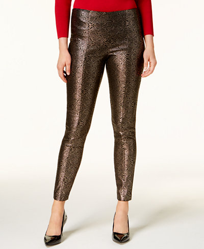 Alfani Petite Metallic Skinny Pants, Created for Macy's