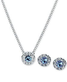 Silver-Tone Pavé and Blue Stone Pendant Necklace & Stud Earrings Set