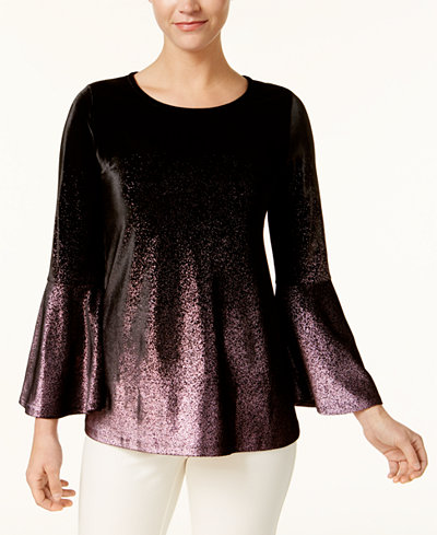 Alfani Petite Velvet Ombré Bell-Sleeve Top, Created for Macy's