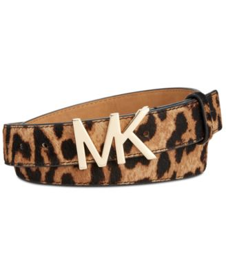 MICHAEL Michael Kors MK Buckle Leopard Calf Hair Belt