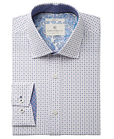 Con.Struct Men's Slim-Fit Stretch White/Purple Star Dress Shirt, Created for Macy's