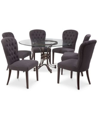 "Caspian Round Metal Dining Furniture, 7-Pc. Set (54"" Table & 6 Side Chairs), Created for Macy's"