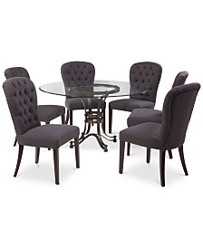 """Caspian Round Metal Dining Furniture, 7-Pc. Set (54"""" Table & 6 Side Chairs), Created for Macy's"""