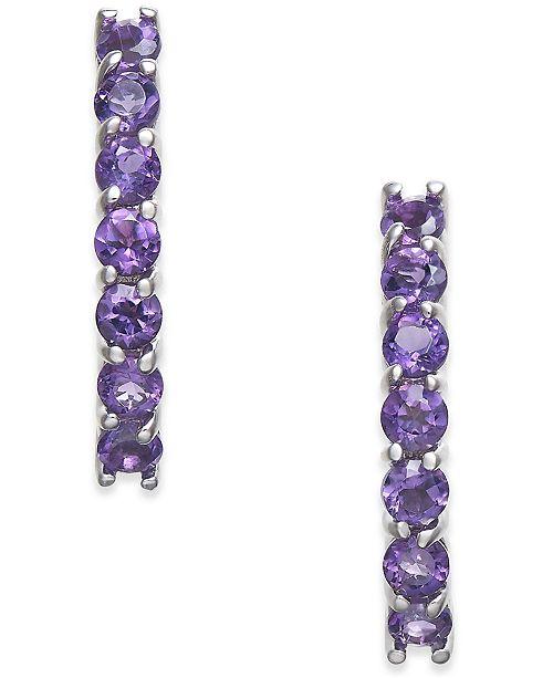 Macy's Amethyst Drop Earrings (1-3/8 ct. t.w.) in 14k White Gold
