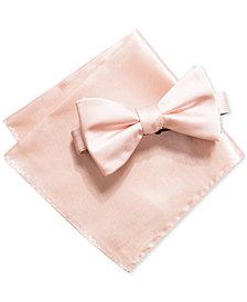 Alfani Men's Satin Solid Bow Tie & Pocket Square Set, Created for Macy's
