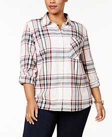 Style & Co Plus Size Cabin Plaid Shirt, Created for Macy's
