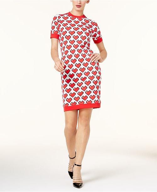 a467bef596e Love Moschino Heart-Print Sweater Dress   Reviews - Dresses - Women ...