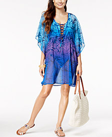 Bleu by Rod Beattie Palm-Print Caftan Cover-Up