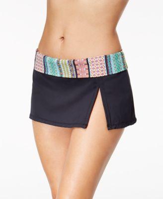 Printed-Waist Swim Skirt