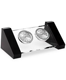 Workplace Crystal & Silver-Tone Metal Dual Time Clocks