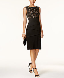 Connected Tiered Lace Sheath Dress