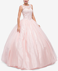 Dancing Queen Juniors' Sequined Appliqué Gown