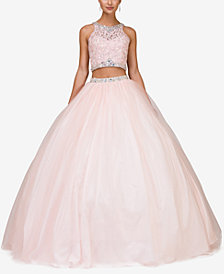 Dancing Queen Juniors' Embellished Lace 2-Pc. Gown