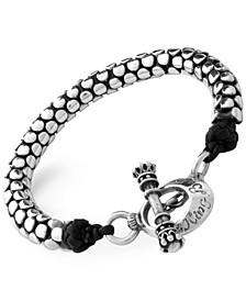 Men's Snake-Look Leather Accent Bracelet in Sterling Silver