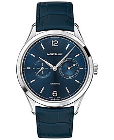 Montblanc Men's Swiss Automatic Chronograph Heritage Chronométrie Twincounter Blue Alligator Leather Strap Watch 40mm