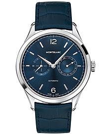 Montblanc Men's Swiss Automatic Chronograph Heritage Chronométrie Twincounter Blue Alligator Leather Strap Watch 40mm