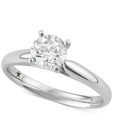 Macy's Star Signature Diamond™ Solitaire Engagement Ring (1 ct. t.w.) in 14k White Gold, SI2 Clarity