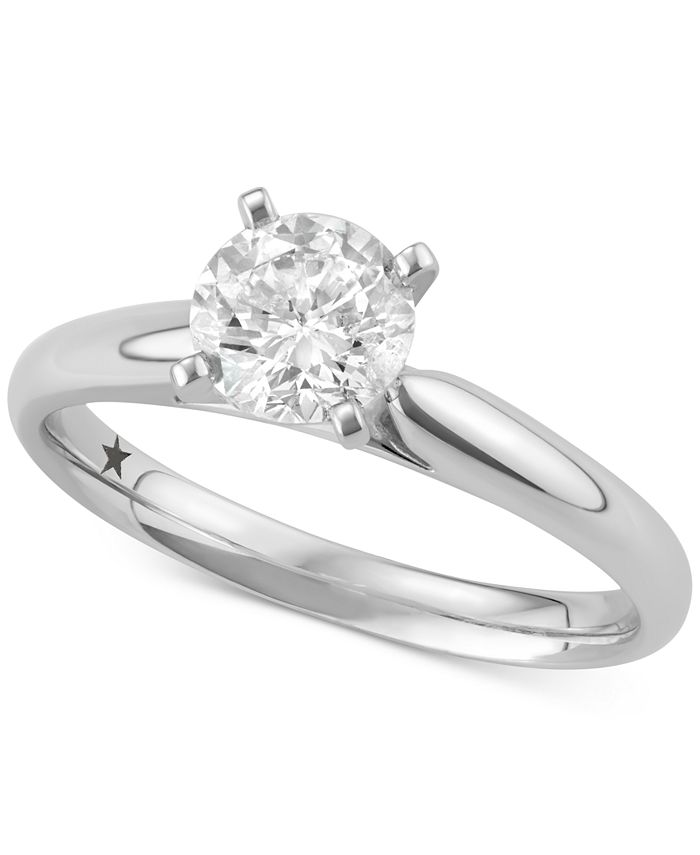 Macy's Star Signature Diamond - Certified ™ Solitaire Engagement Ring (1 ct. t.w.) in 14k White Gold