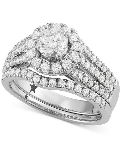 Macy's Star Signature Diamond Halo Engagement Bridal Set (1-3/4 ct. t.w.) in 14k White Gold