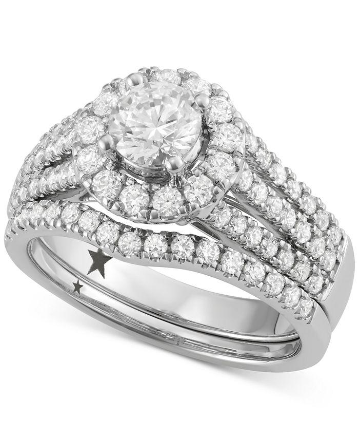 Macy's Star Signature Diamond - ™ Halo Bridal Set (1-3/4 ct. t.w.) in 14k White Gold