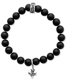 Men's Black Onyx Beaded Fleur de Lis Charm Stretch Bracelet in Sterling Silver