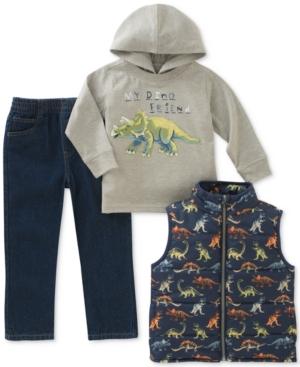 Kids Headquarters 3Pc GraphicPrint Hoodie Vest  Jeans Set Toddler Boys (2T5T)