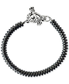 King Baby Men's Onyx (6-1/2mm) Beaded Bracelet in Sterling Silver