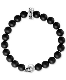 Black Lava Rock Beaded Stretch Bracelet in Sterling Silver