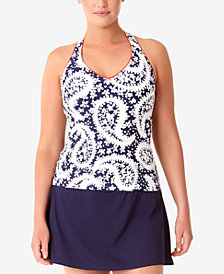 Anne Cole Plus Size Paisley Halter Tankini & Swim Skirt