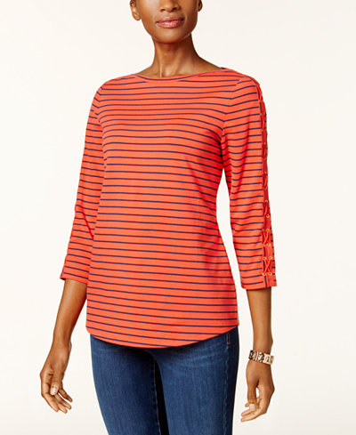 Charter Club Petite Striped Laced-Sleeve Top, Created for Macy's