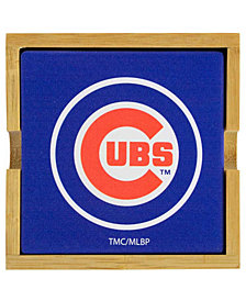 Chicago Cubs 4-Pack Square Coaster With Caddy