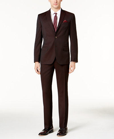 Ben Sherman Men's Slim-Fit Burgundy Stretch Suit