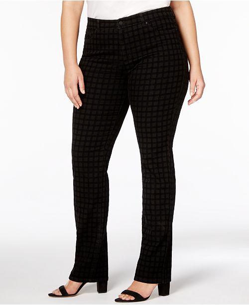 Charter Club Plus Size Lexington Tummy-Control Flocked Straight-Leg Jeans, Created for Macy's