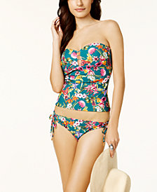 Jessica Simpson Eden Floral-Print Strappy Bandeau Tankini Top & Side-Tie Bikini Bottoms