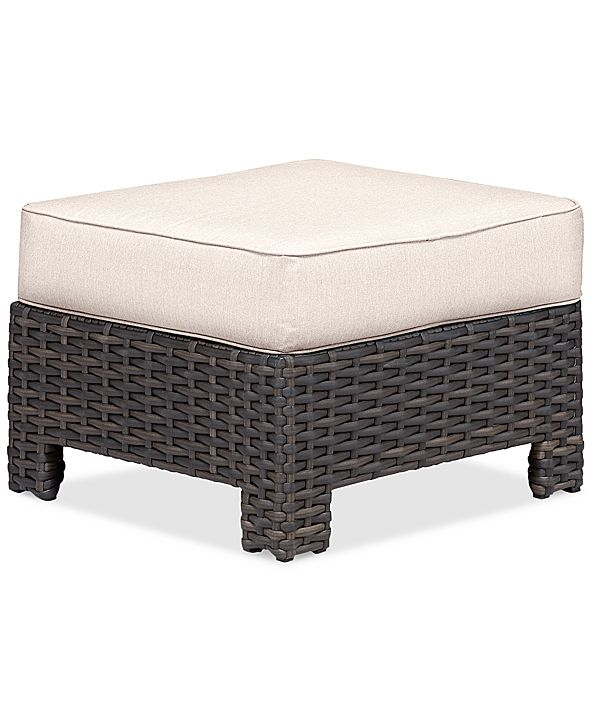 Furniture Viewport Wicker Outdoor Ottoman: with Custom Sunbrella® Colors, Created for Macy's